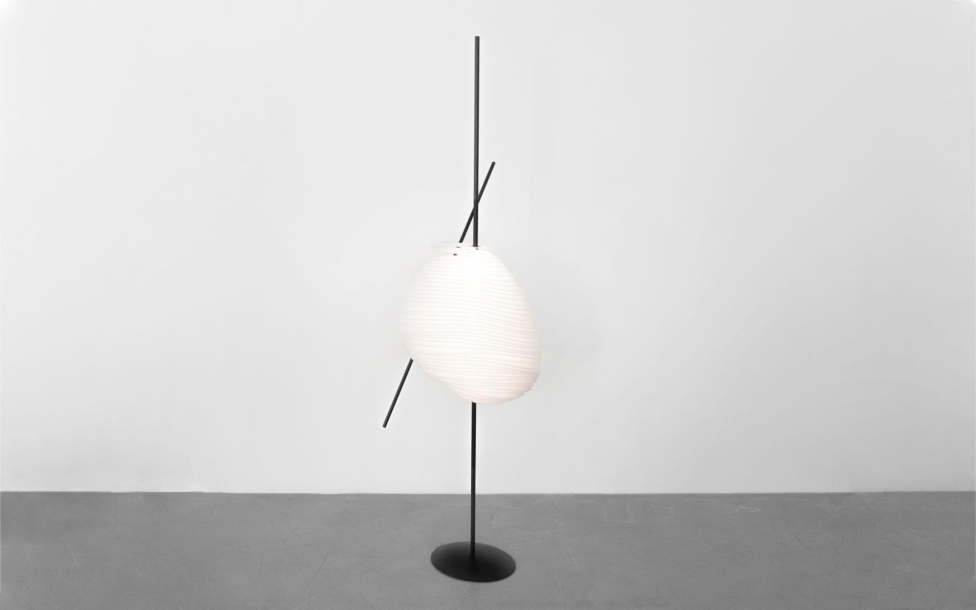 FLOOR LAMP BELE DE JOUR RESIN LINEN METAL LIGHTED
