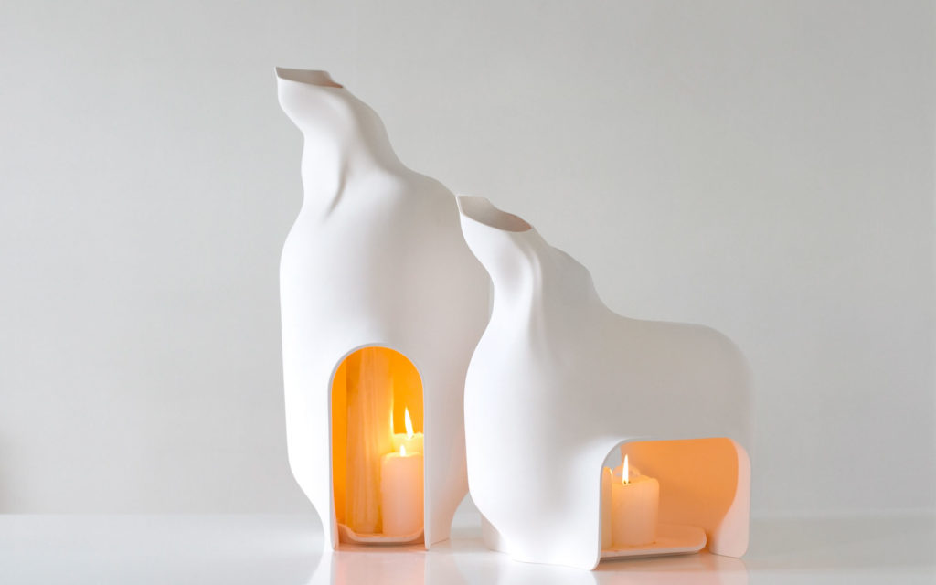 CANDLE HOLDER BETWEEN SHADOWS S AND L PORCELAIN BISQUE LIGHTED