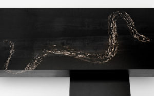 COFFEE TABLE BLACK SNAKE BLUES MARQUETRY OF DYED PEAR TREE WOOD WHITE EBONY MATT LACQUERED STEEL TOP VIEW