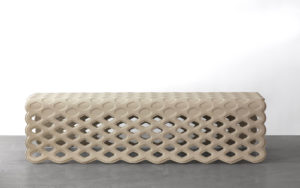 BENCH BLISTER FOLDED METAL STRUCTURE CALFSKIN PEARL GREY