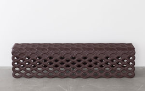 BENCH BLISTER FOLDED METAL STRUCTURE CALFSKIN CHOCOLATE