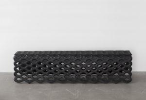 BENCH BLISTER FOLDED METAL STRUCTURE CALFSKIN BLACK
