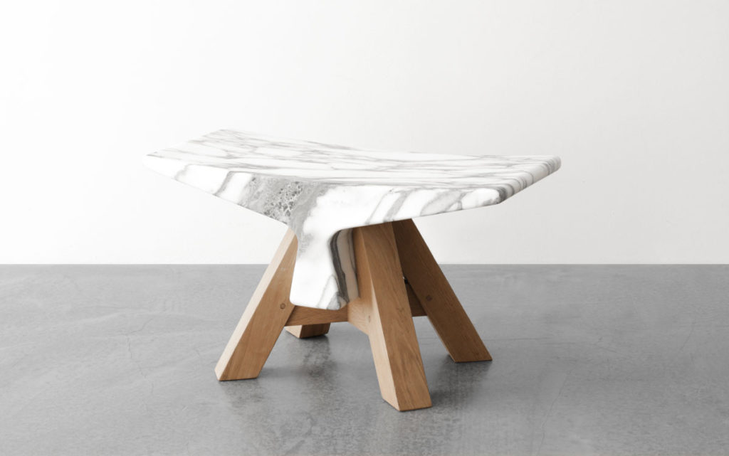 STOOL WHITE MARBLE FROM CARRARA THREE QUARTER VIEW