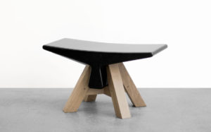 STOOL BONE BLACK MARBLE FROM MARQUINA