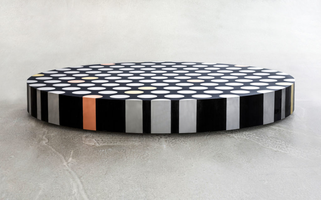 COFFEE TABLE ILLUSION MARQUETRY IN BLACK EBONY BRASS COPPER AND ALUMINIUM