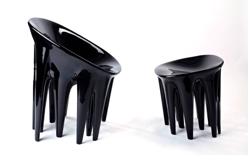 SEATING AMIBES S L SET FIBERGLASS AND LACQUERED POLYESTER RESIN SIDE VIEW