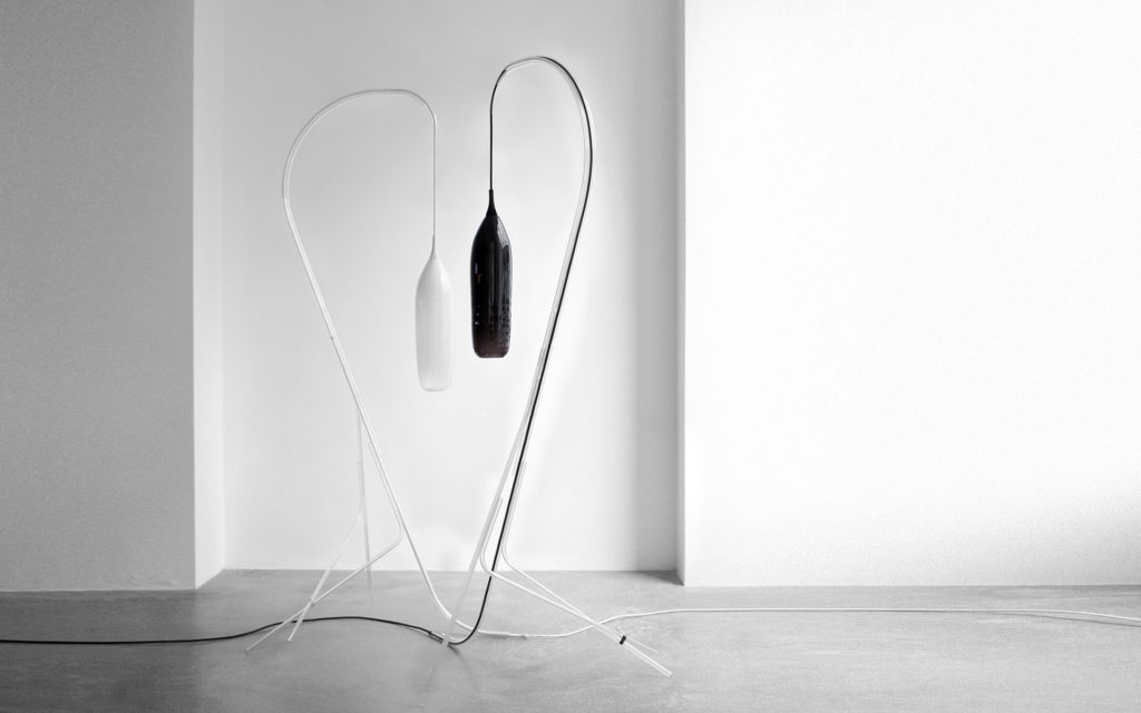 FLOOR LAMP CRISTALCANE BIG BLACK AND WHITE BLOWN GLASS MANUFACTURED BY THE CERFAV