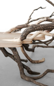 DETAILS BENCH FALLENTREE SCULPTED OAK OAK BRANCHES FRONT VIEW