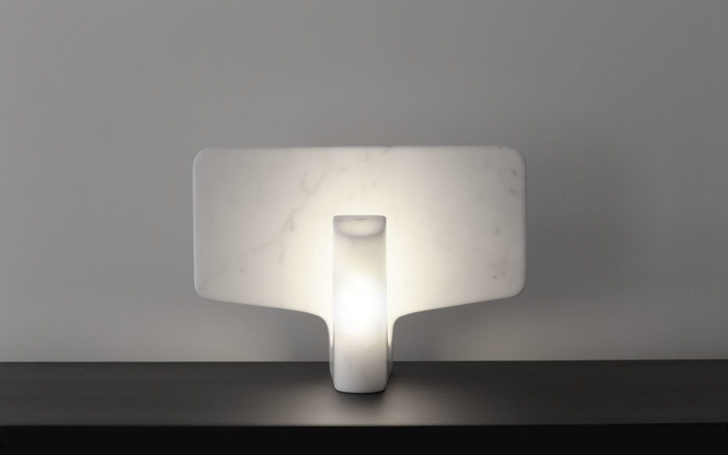 TABLE LAMP FLAP WHITE CARRARA MARBLE LIGHTED