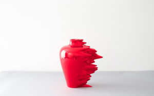 VASE HYPERFAST LACQUERED CORIAN CHROME RUBY