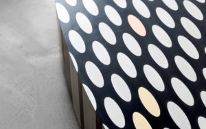 DETAILS COFFEE TABLE ILLUSION MARQUETRY IN BLACK EBONY BRASS COPPER AND ALUMINIUM