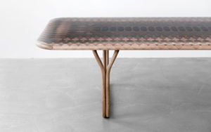 DINNING TABLE INMYSKIN MARQUETRY WITH 11 TYPES OF NATURAL WOOD LEFT PART