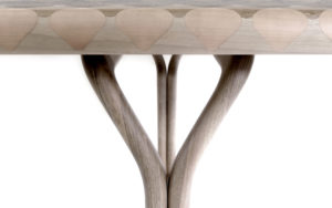 DETAIL DINNING TABLE INMYSKIN MARQUETRY WITH 11 TYPES OF NATURAL WOOD