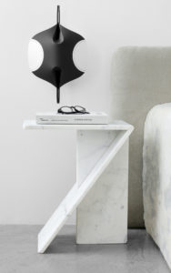 PIECES IN SITU SIDE TABLE WHITE MARBLE FROM CARRARA SCONCE EDALIGHT PAPER