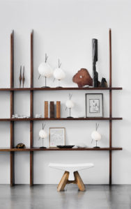 PIECES IN SITU BATTERY CHARGED LAMP CERAMIC STOOL BONE DUCTAL FIBER CONCRETE AND OAK CREAMY WHITE