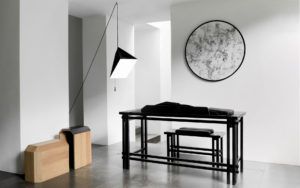 PIECES IN SITU DESK SMOOTHWRITER WOOD FRAME DYED BLACK CALFSKIN BENCH HIDDENSKIN NATURAL OAK MATT FINISH BLACK LEATHER PENDANT POISE PAPER METAL LEAD ABSOLU TUBEROSE DRAWING
