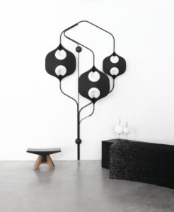 PIECES IN SITU STOOL BONE BLACK MARBLE FROM MARQUINA COFFEE TABLE BLACK SNACK BLUES MARQUETRY OF DYED PEAR TREE WOOD WHITE EBONY MATT LACQUERED STEEL