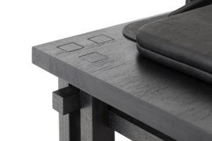 DETAILS DESK SMOOTHWRITER WOOD FRAME DYED BLACK LOGICAL ASSEMBLING CALFSKIN STRORAGE BOX