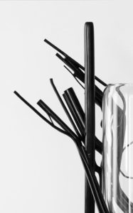 DETAILS VASE STILLLIFEPOIESIS POLISHED BRONZE BLOWN BOROSILICATE EBONY WOOD STRUCTURE