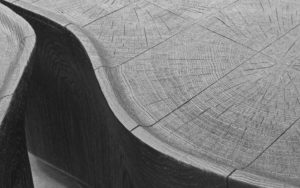 DETAILS COFFEE TABLE STOCO CARVED AND BURNT OAK WOOD
