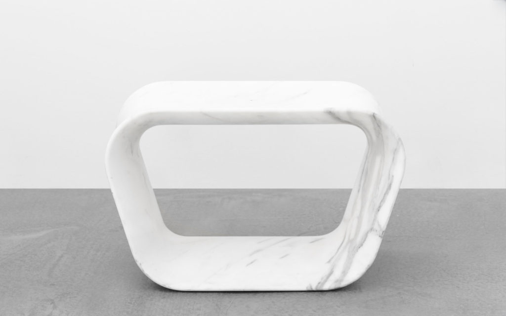 STOOL VOID WHITE MARBLE FROM CARRARA