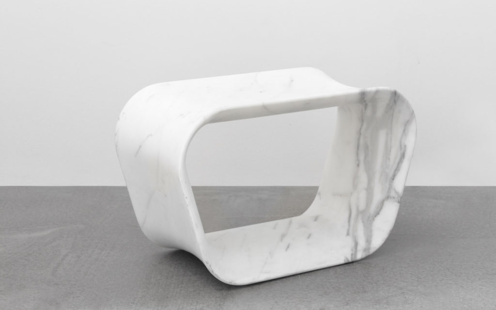 STOOL VOID WHITE MARBLE FROM CARRARA THREE QUARTER VIEW