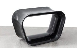 STOOL VOID BLACK MARBLE FROM MARQUINA THREE QUARTER VIEW