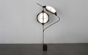 FLOOR LAMP EDALIGHT PAPER METAL CONCRETE SIDE VIEW LIGHTED