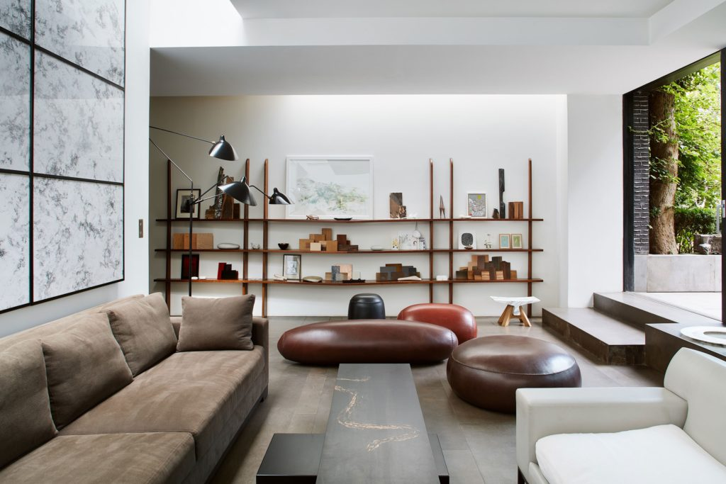 PIECES IN SITU COFFEE TABLE BLACK SNAKE BLUES MARQUETRY OD DUED PEAR TREE WOOD WHITE EBONY MATT LACQUERED STEEL SEATING VICTORY CALFSKIN FLOOR LAMP BELLE DE JOUR RESIN LINEN METAL BATTERY CHARGED LAMP BELLE DE NUIT CERAMIC FLOOR LAMP EDALIGHT PAPER METAL CONCRETE