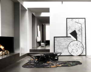 PIECES IN SITU BENCH VUEDUCIEL AUBUSSON TAPESTRY AND METAL FLOOR LAMP POISE PAPER METAL CONCRETE ABSOLU TUBEROSE DRAWINGS
