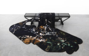 BENCH VUEDUCIEL AUBUSSON TAPESTRY AND METAL FRONT VIEW
