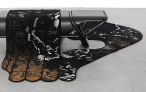 DETAILS BENCH VUEDUCIEL AUBUSSON TAPESTRY AND METAL BACK VIEW